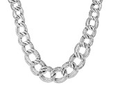 Sterling Silver Graduated Textured Bold Curb Design Necklace 18 Inch