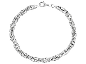 Sterling Silver Bold Diamond Cut Singapore Chain Bracelet 8 Inch