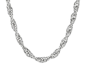 Sterling Silver Bold Diamond Cut Singapore Chain Necklace 18 Inch