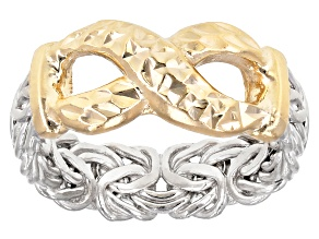 Sterling Silver & 18K Yellow Gold Over Sterling Silver Diamond Cut Infinity Design Byzantine Ring