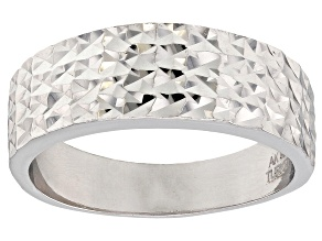 Sterling Silver Diamond Cut Graduated Band Ring