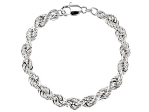 Sterling Silver 8MM Bevelled Rope Bracelet 8 Inch