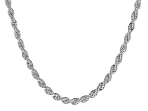 Sterling Silver 6MM Bevelled Rope Chain Necklace 18 Inch