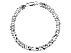 Sterling Silver 6.5MM Diamond Cut Double Link Bracelet 8 Inch