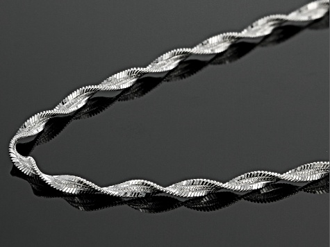 Sterling Silver 2 MM Spiral Herringbone Chain Necklace 20 Inch