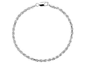 Sterling Silver 2.5 MM Rope Bracelet 7.5 Inch