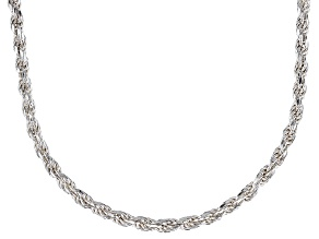 Sterling Silver 2.5MM Polished Rope Chain Necklace 18 Inch