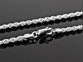 Sterling Silver 2.5MM Polished Rope Chain Necklace 20 Inch