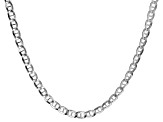 Sterling Silver 3.8MM Mariner Flat Chain Necklace 18 Inch