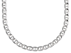Sterling Silver 3.8MM Mariner Flat Chain Necklace 24 Inch