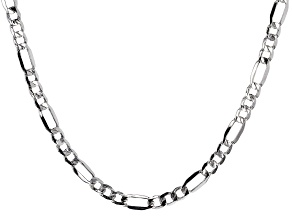 Sterling Silver Diamond Cut Figaro Bevelled Chain Necklace 20 Inch