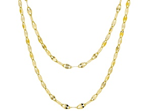 18K Yellow Gold Over Sterling Silver 3.1MM Oval Rolo Hammered Necklace Chain Set Of Two 18 & 20 Inch