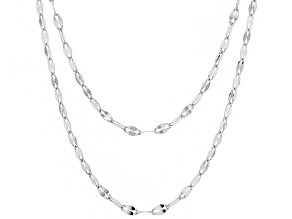 Sterling Silver 3.3MM Oval Rolo Hammered Necklace Chain Set Of Two 18 & 20 Inch