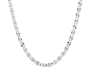 Sterling Silver 3.1MM Valentino Mariner Chain Necklace 18 Inch