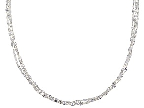 Sterling Silver Triple Strand Flat Cable Chain Necklace 18 Inch