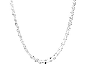 Sterling Silver Triple Strand Flat Cable Chain Necklace 20 Inch