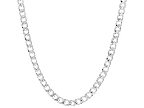 Sterling Silver 4MM Polished Curb Link Chain Necklace 18 Inch