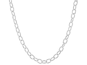 Sterling Silver 4.4MM Oval Rolo Hammered Chain Necklace 18 Inch