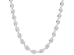 Sterling Silver 5MM Spiral Herringbone Chain Necklace 24 Inch