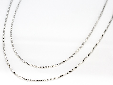 Sterling Silver 1.1MM Popcorn Link Chain Necklace Set 18 and 20 Inch