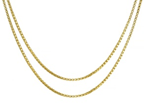 18K Yellow Gold Over Sterling Silver 1.1MM Popcorn Link Chain Necklace Set 18 and 20 Inch