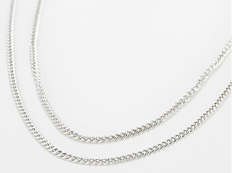 Sterling Silver 1.1MM Curb Link Chain Necklace Set 18 Inch and 20 Inch