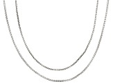 Sterling Silver Box Chain Link Necklace Set 18 Inch And 20 Inch