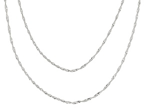Sterling Silver Singapore Link Chain Necklace Set 18 Inch And 20 Inch
