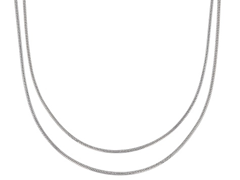 Sterling Silver Snake Chain Necklace Set 18 Inch And 20 Inch