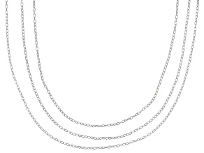 Sterling Silver .7MM Cable Link Chain Necklace Set 16 Inch, 18 Inch, & 20 Inch