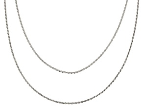 Sterling Silver 1.1MM Rope Link Chain Necklace Set 18 Inch & 20 Inch