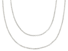 Sterling Silver 1.1MM Rolo Link Chain Necklace Set 18 Inch & 20 Inch