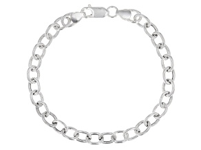 Sterling Silver Elongaited Cable Link Bracelet 8 Inch