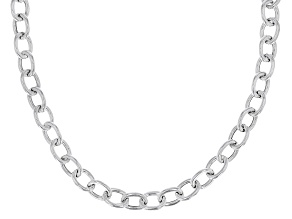 Sterling Silver Elongaited Cable Link Necklace 20 Inch