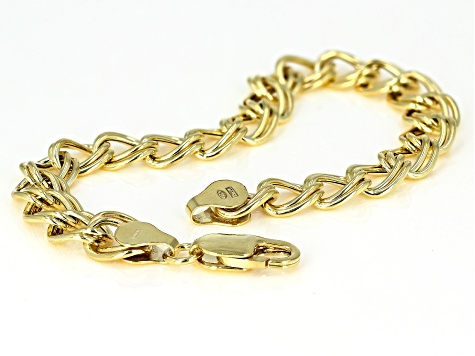 18K Yellow Gold Over Sterling Silver Cable Link Bracelet 7.5 Inch