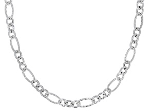 Sterling Silver Oval Textured Link Chain Necklace 20 Inch