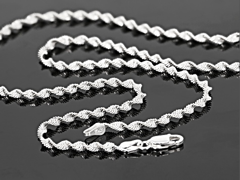 Sterling Silver 2MM Polished Spiral Herringbone Chain Necklace 18 Inch