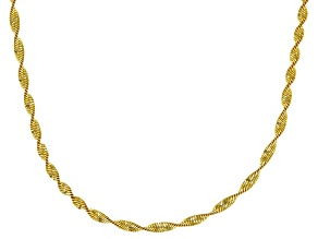 18K Yellow Gold Over Sterling Silver 2MM Polished Spiral Herringbone Chain Necklace 18 Inch