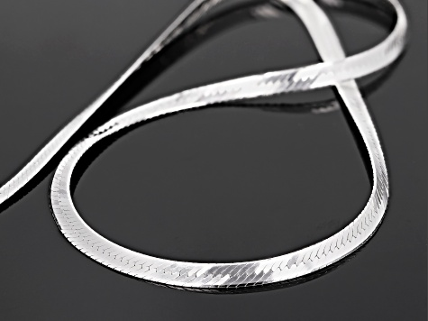 Sterling Silver 4MM Herringbone Necklace 18 Inch