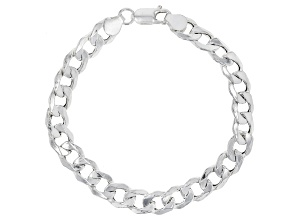 Sterling Silver Polished Curb Bracelet 7.5 Inch