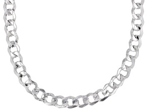 Sterling Silver 8MM Polished Curb Chain Necklace 18 Inch