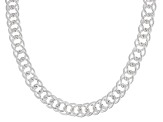 Sterling Silver 8MM Double Curb Chain Necklace 18 Inch