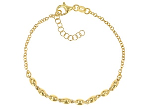 18K Yellow Gold Over Sterling Silver Bead Bracelet 7 Inch With 1 Inch Extender