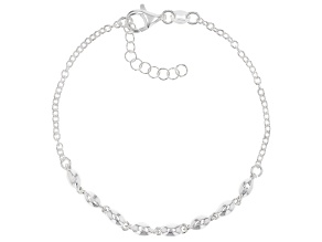 Sterling Silver Bead Bracelet 7 Inch With 1 Inch Extender