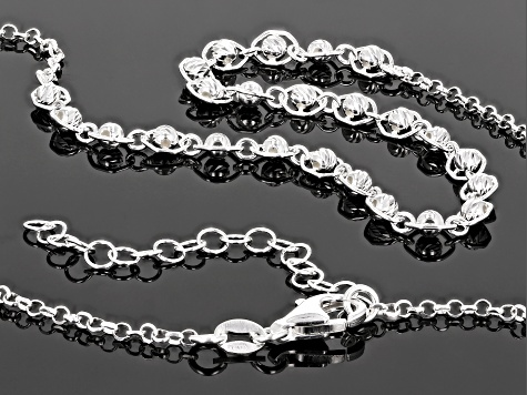 Sterling Silver Bead Necklace 16 Inch With 2 Inch Extender