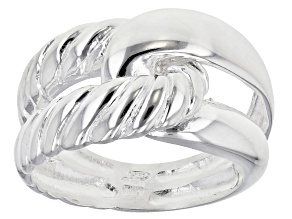 Sterling Silver Ribbed And Polished Embrace Band Ring.