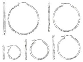Sterling Silver 5 Pair Diamond Cut Hoop Earring Set