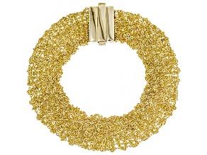 18K Yellow Gold Over Sterling Silver Mesh Bracelet