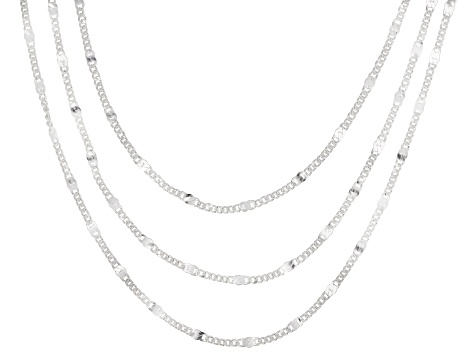 Sterling Silver Multi-Strand Chain Link Necklace 18 Inch