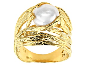 9MM White Cultured Freshwater Pearl 18K Yellow Gold Over Silver Nest Ring